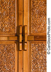 Antique bolt on wooden flowered door - Antique closed bolt...