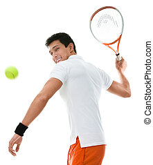Sportive man playing tennis, isolated on white