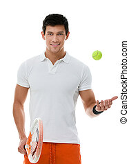 Sporty sportsman playing tennis - Sporty man playing tennis,...