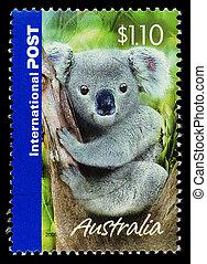 Franqueo, Australia, 2005:, estampilla, actuación, oso, -,...