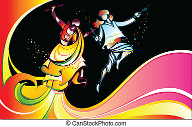 Colorful Dandiya - illustration of man and waman playing...