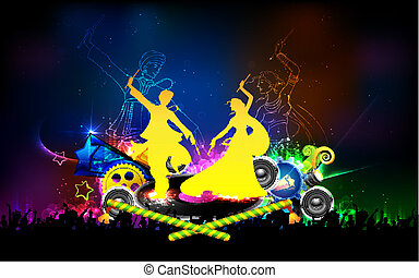 Poster for Dandiya night - illustration of people dancing on...
