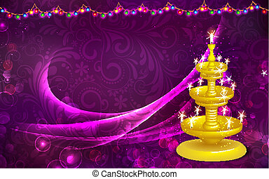 Golden Diya Stand - illustration of golden diya stand on...