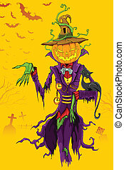 Halloween Ghost - illustration of Halloween ghost with...