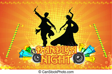 Dandiya Night - illustration of people playing garba in...