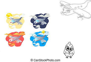Airplanes - Set of four illustrations cartoon airplanes on a...