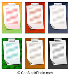 Set of colored clipboards with bla