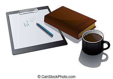Blank clipboard with cup and noteb
