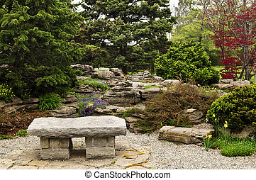 Zen garden - Japanese zen garden with natural stone bench
