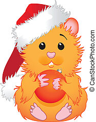 Christmas hamster - Cute hamster in Santa hat holding in...