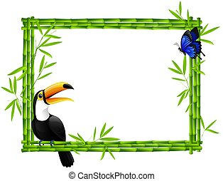 Bamboo frame with toucan and butterfly isolated on white