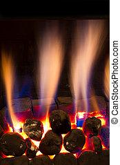 gas, fuego, abrasador, Fuertemente, dentro, moderno, hogar