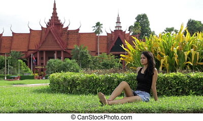 Cambodian attractive girl, national museum