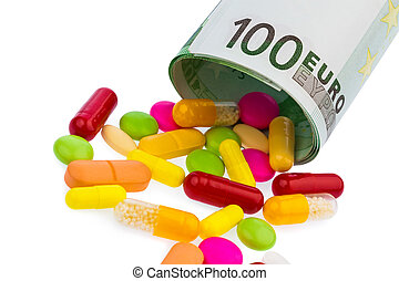 tablets and 100 euro bill - a 100 euro bill and tablets on...