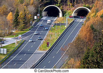 highway tunnel - on the tauern motorway in austria there are...