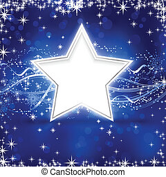 Blue silver Christmas star background - Christmas winter...