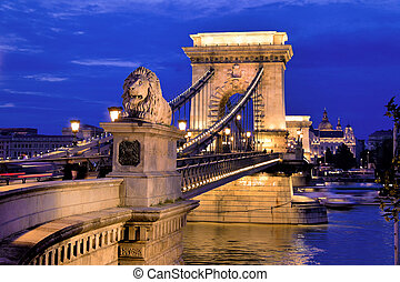 hungary, budapest, chain bridge - the chain bridge is one of...