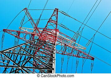 pylons of a power line - pylons of a high voltage power...