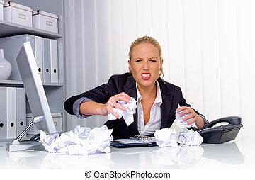 婦女, 辦公室, 弄皺, 紙