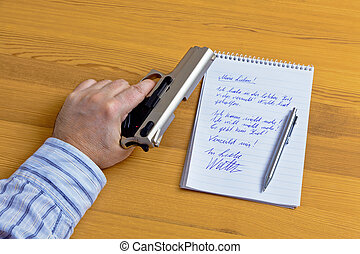 a farewell letter and gun - a farewell letter and the gun of...