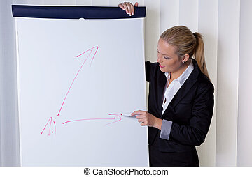 woman with flip chart - a young woman with a flip chart...