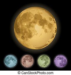 Isolated full moon - Realistic Isolated full moon on black....