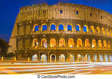 Colosseum at Dusk, Rome Italy - closeup of Colosseum at...