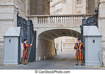 Swiss guards - VATICAN CITY, ITALY - March 23: A pair of...
