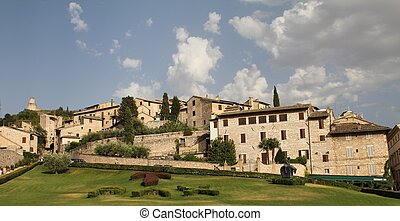 Assisi and a field with the word peace in latin - View of...