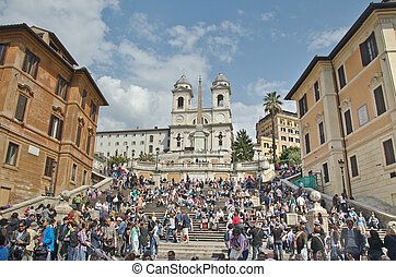 The Spanish Steps, seen from Piazza di Spagna - ROME - March...