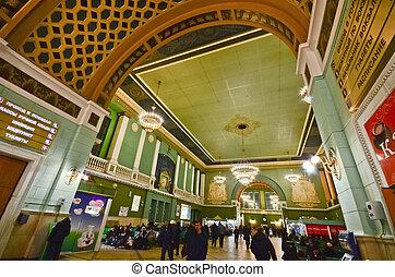 Kiev railway station, Moscow - MOSCOW, RUSSIA - MAR 7:...