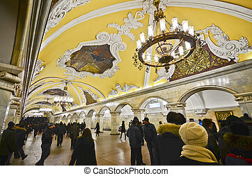 Komsomolskaya metro station, Moscow - MOSCOW - MARCH 7:...