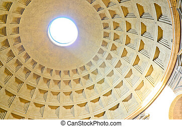 Pantheon ceiling, Rome, Italy.