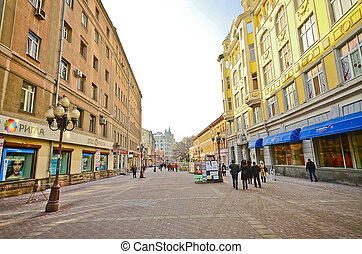 Arbat Street - MOSCOW, RUSSIA - MAR 7 People walking on the...