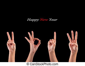 2013 new year showing - hands forming number 2013