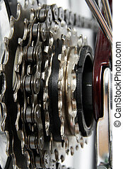 Bicycle gears.  Chainrings set closeup.