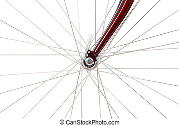 Spokes of a front bicycle wheel, isolated on white.