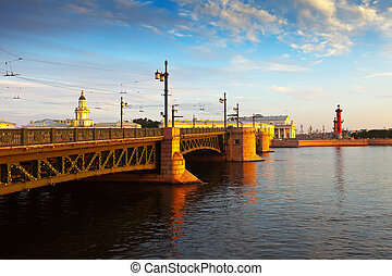 Palace Bridge in morning - View of St. Petersburg. Palace...