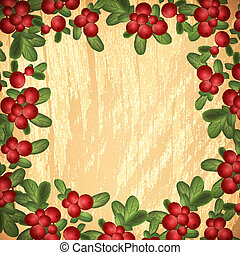 Cranberries With Green Leaves Over Wooden Background