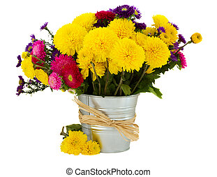 bouquet of aster and mums in vase isolated on white...