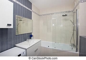 Moder bathroom - Moder  bathroom in gray and white tiles