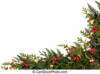 Seasonal Christmas Border - Christmas traditional border of...
