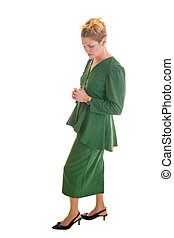 Concerned Business Woman With Hands Clasped - Worried...