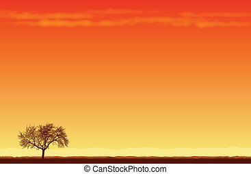 Lone Tree in the Desert - Vector illustration of a lone tree...