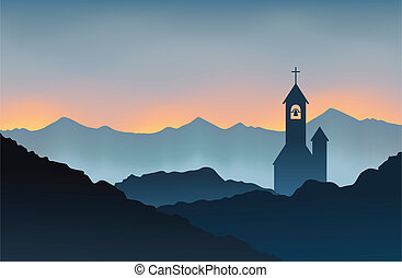 Monastery on the Mountain - Silhouette of a monastery on top...
