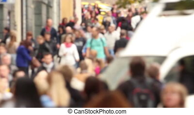 Crowd - Large walking crowd, shot in Prague (defocused,...