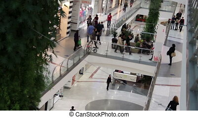 Mall - walking crowd inside of shopping mall (softly...