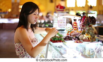 Asian girl shopping central market