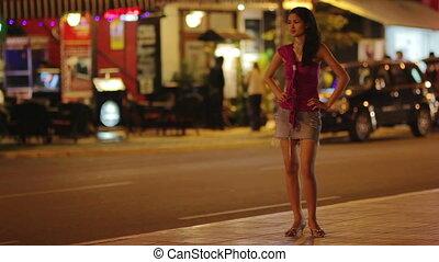 prostituta, esperando, costumer, noturna