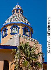 Mexican Tiled Dome - Tiled dome of building displays...